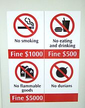 Durian Fruit Transit Sign Singapore